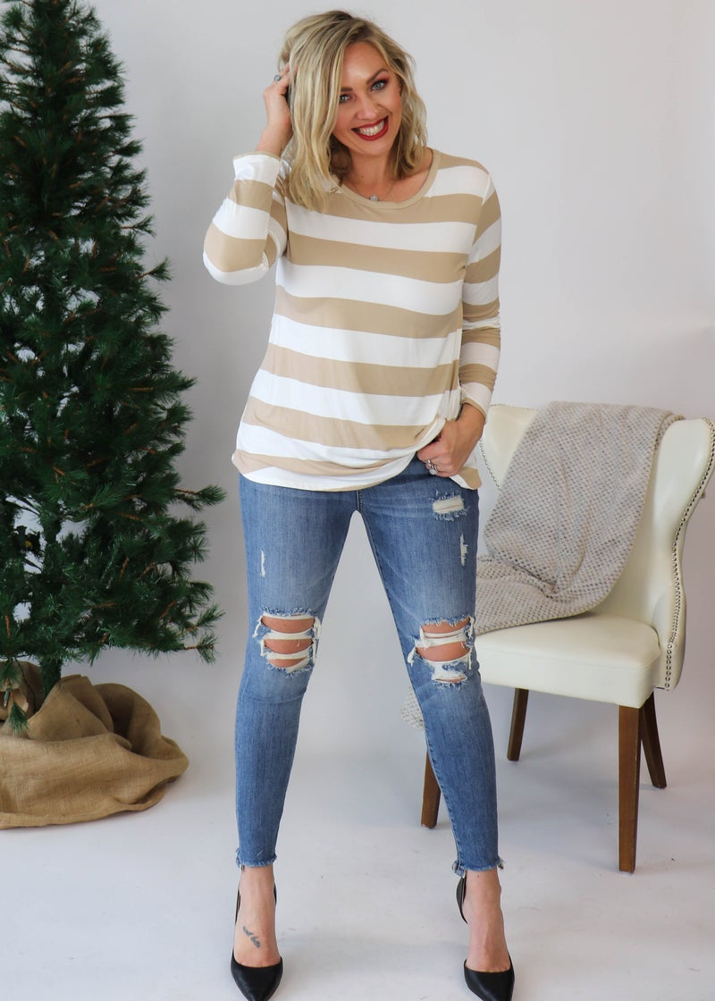 DOORBUSTER:Emma Striped Top: Taupe *Final Sale*