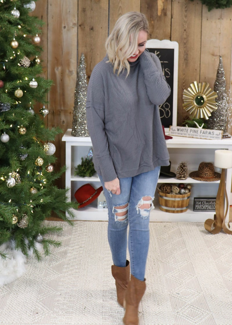 DOORBUSTER - Brianna Charcoal Mock Neck Sweater  *Final Sale*