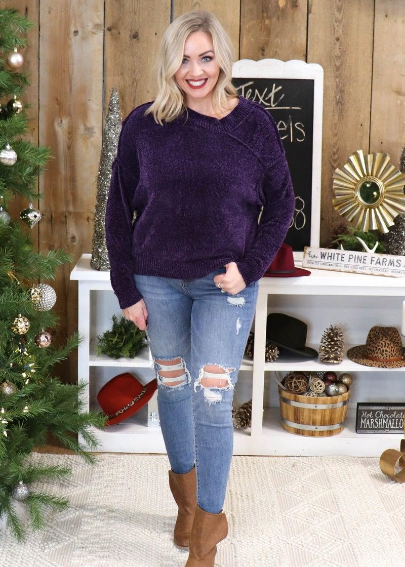 DOORBUSTER - London Purple Chenille Sweater *Final Sale*