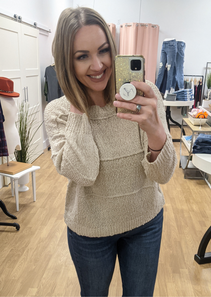 Taupe Patched Detail Sweater *Final Sale*