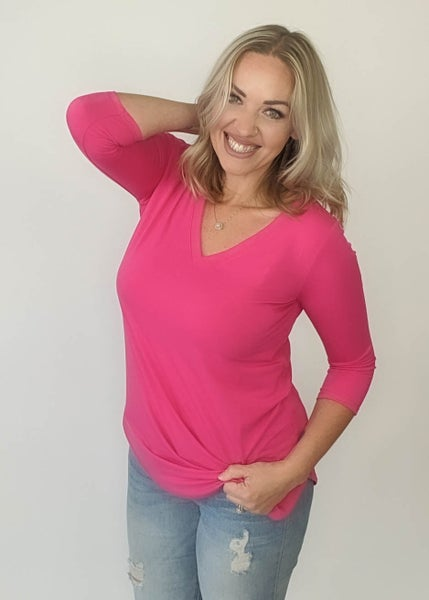 Best Top Ever 3/4 Sleeve - Fuchsia