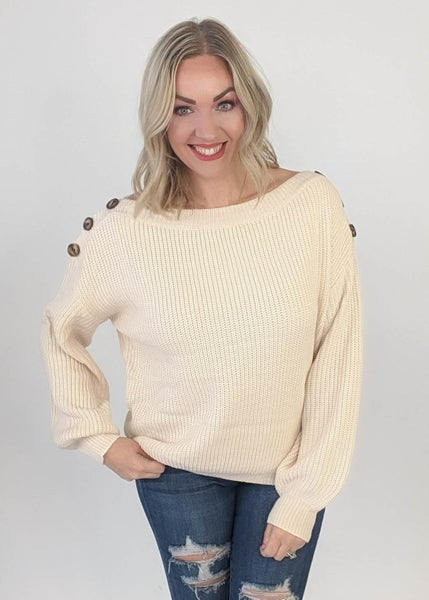 Ivory Button Sweater