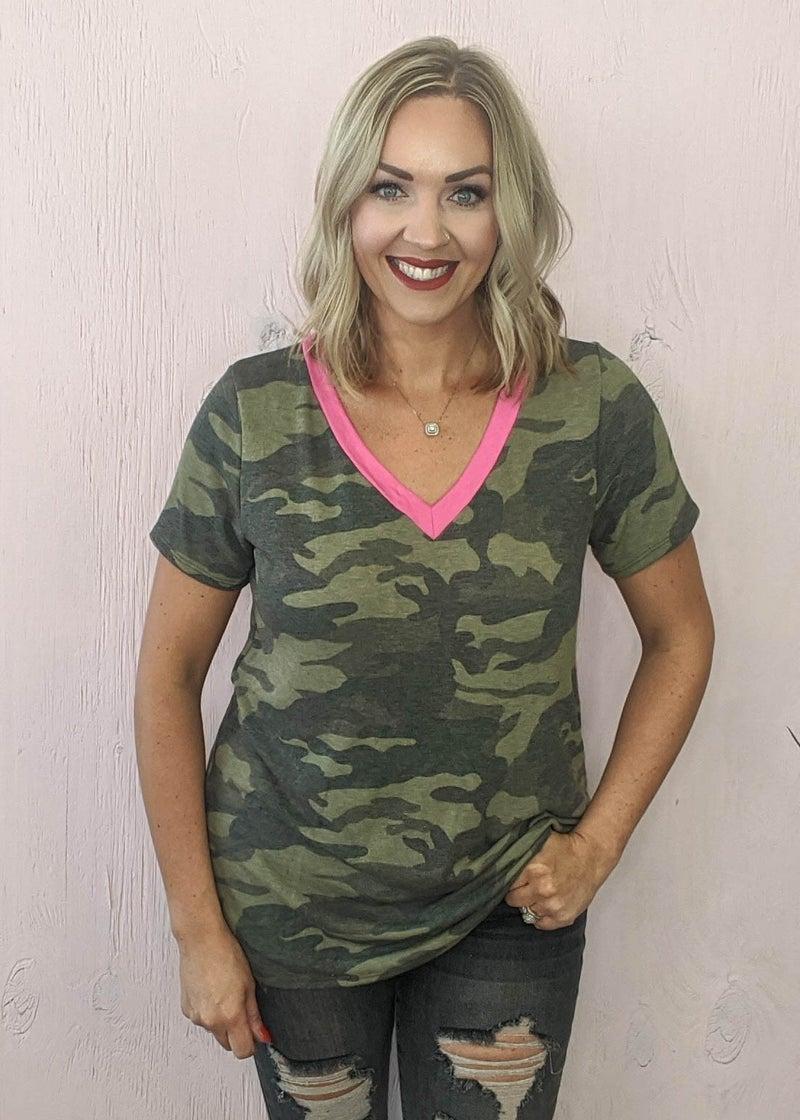 Amy Hidden Pink Camo Top
