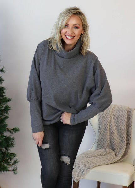 Charcoal Cowlneck