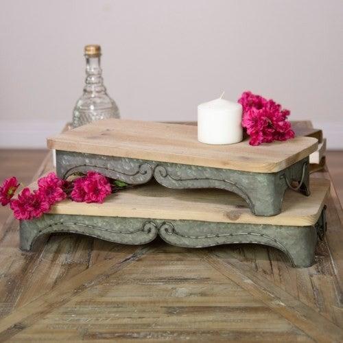 Rectangular Metal/Wood Tray