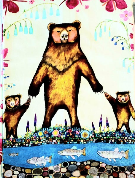 Bears by the River Tea Towel