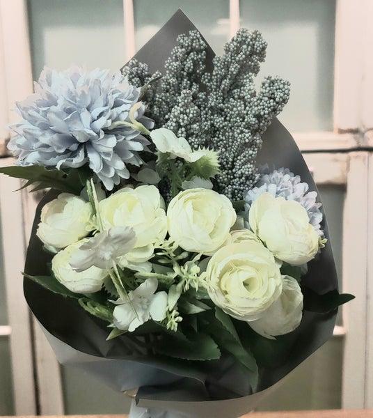 White & Light Blue Floral Mix Bouquet