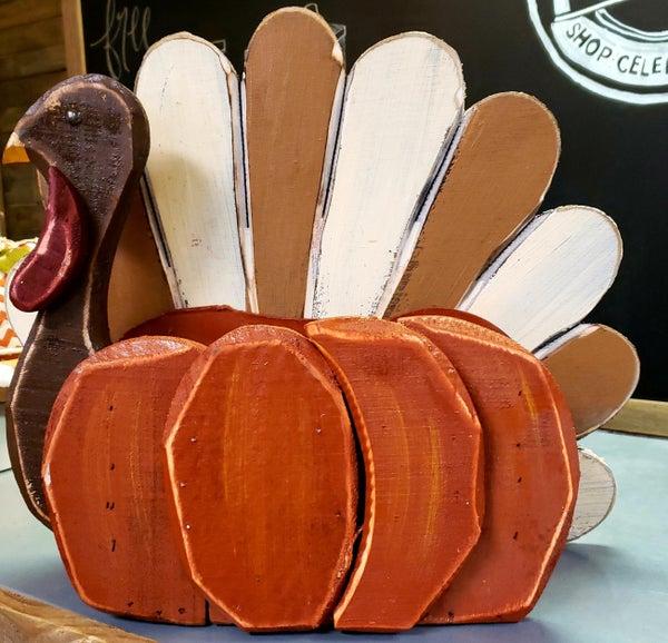 Wooden Turkey/Pumpkin