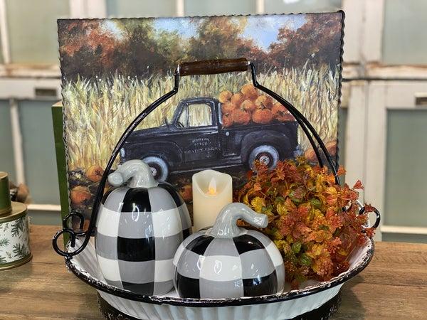 Black & White Check Stoneware Pumpkin w/ Grey Stem