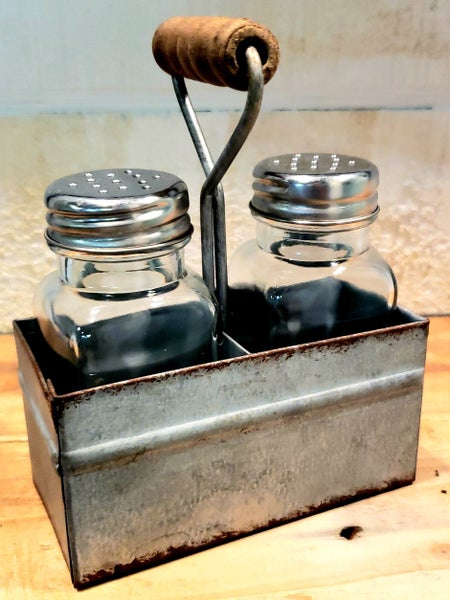 Salt & Pepper in Galvanized Basket