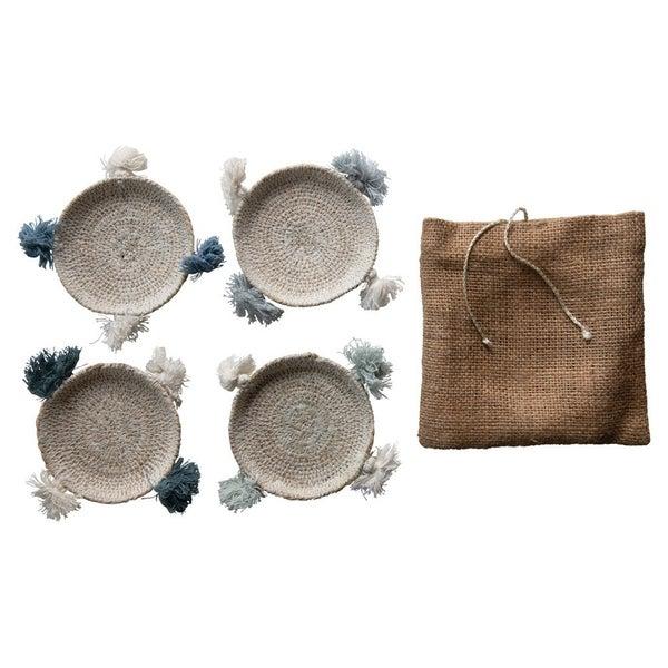 Seagrass Mug Mat Set w/ Tassels