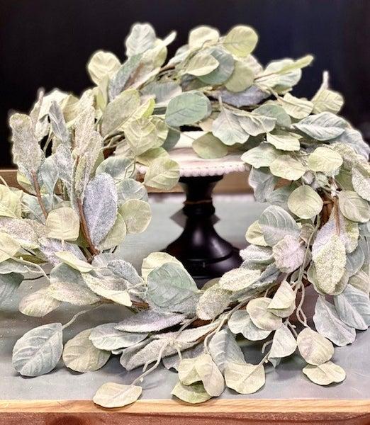 Flocked Leaf Large Wreath
