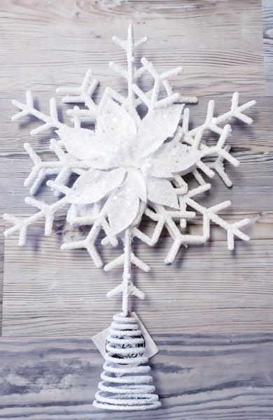 White Snowflake Christmas Tree Topper