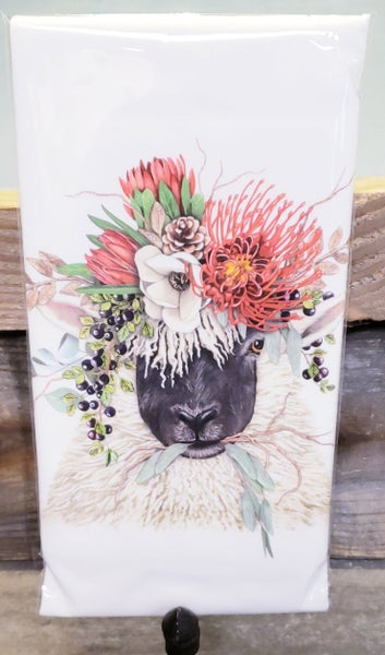 Sheep w/ Bouquet Tea Towel
