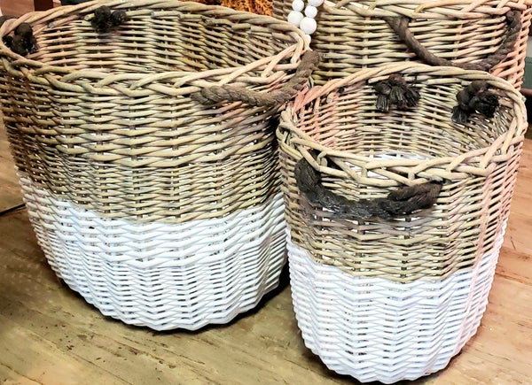 Tall Two Toned Baskets w/ Rope Handles