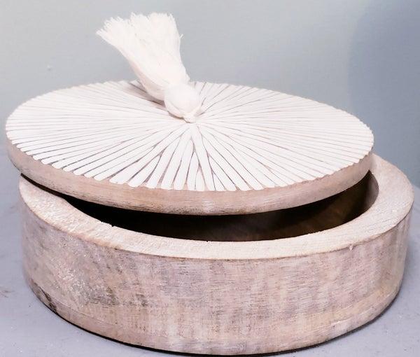 Round Wooden Box with Tassel