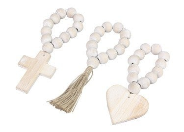 White Blessed Mini Beaded Hanger