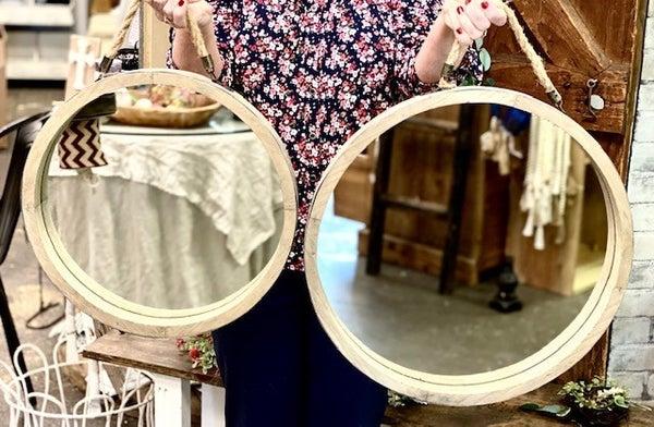 Wood Frame Mirror w/ Strap