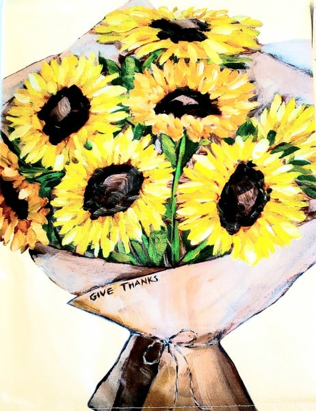 Give Thanks Sunflower Bouquet Tea Towel
