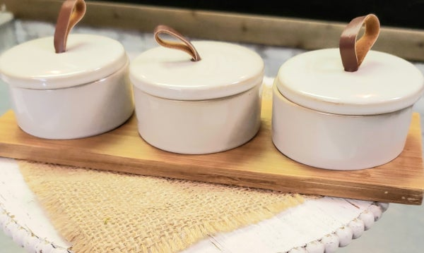 Set of 3 Stoneware w/ Bamboo Tray