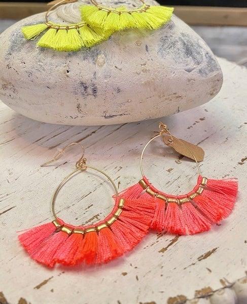 Neon Tassel Earrings