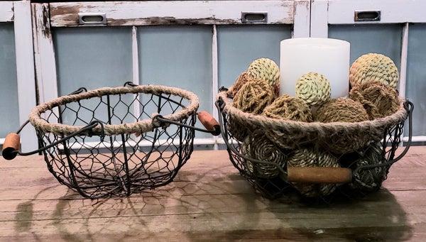 Round Wire Baskets w/ Handles