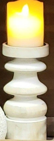 White Wash Carved Candle Riser