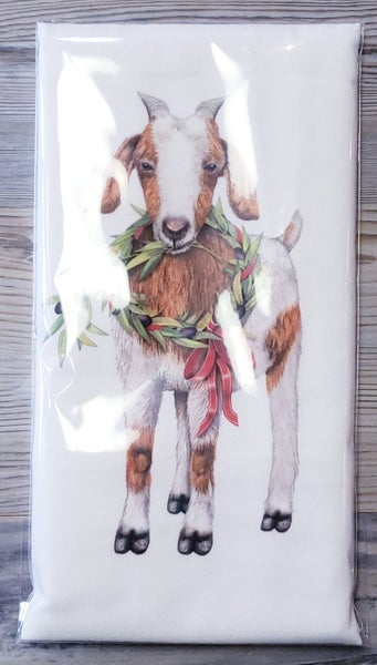 Olive Wreath Goat Bagged Tea Towel
