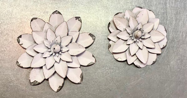 White Tin Flower Magnets