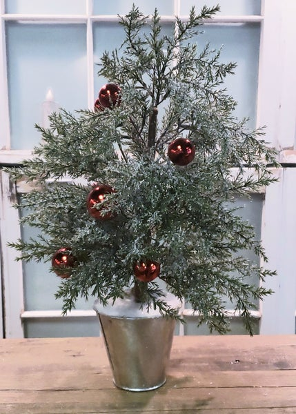 Potted Festive Snow Tree 19""