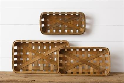 Long Walnut Tobacco Baskets