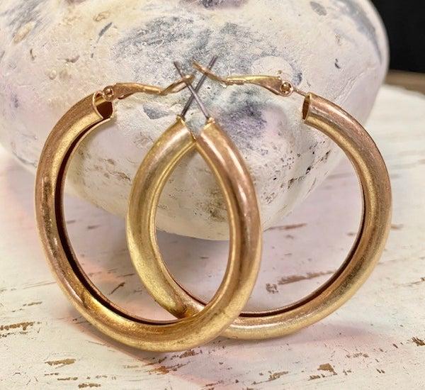 Matte Gold Hoop Earrings