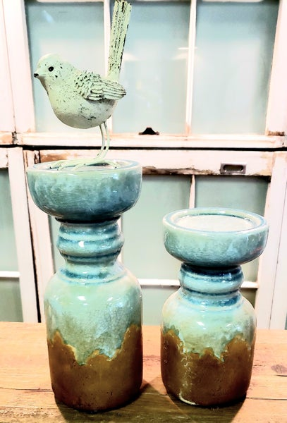 Blue Rustic Candle Holders