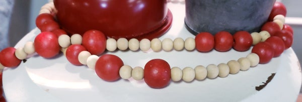 Small Red/Natural Wooden Beaded Garland