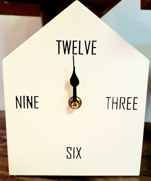 White Metal Tabletop Clock