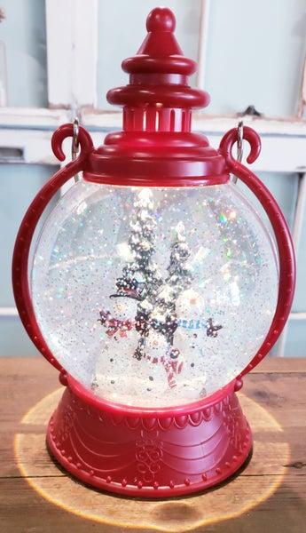 Red Light up Musical Snowman Snowglobe