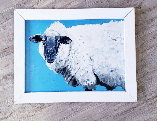 Cute Sheep in White Frame