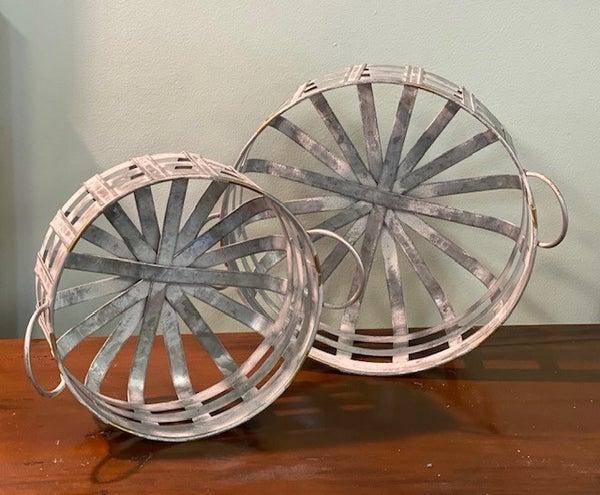 Round Zinc Washed Baskets