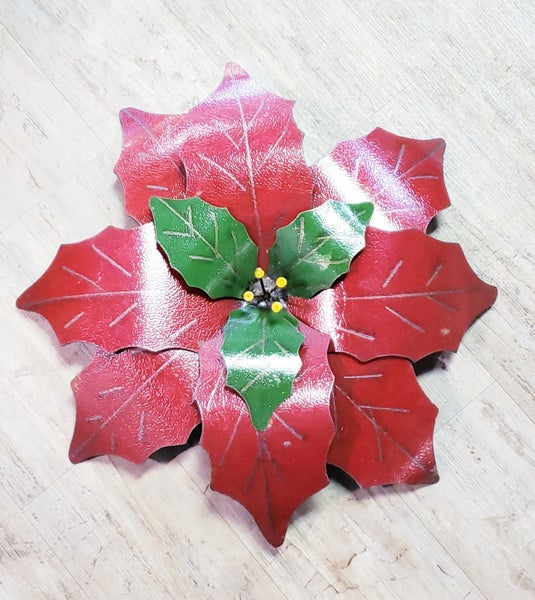 Metal Red Poinsettia Hanger