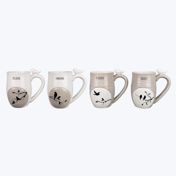 Botanical Grey and White Mugs with Bird Accent