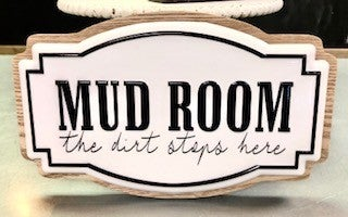Mud Room Enamel Wood Sign