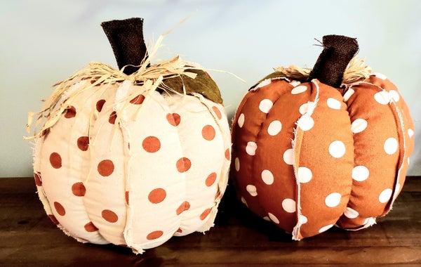 Large Polka Dot Fabric Pumpkin