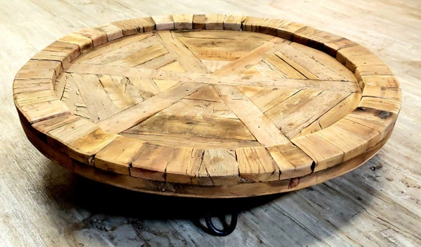 Extra Large Recycled Round Wood Tray LOCAL PICK UP ONLY
