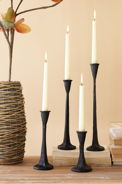 Black Cast Iron Taper Candle Holders