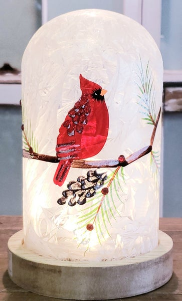 Hand Painted Cardinal & Pinecones LED Glass Cloche