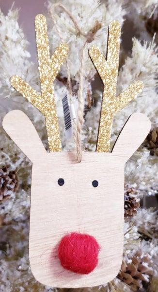 Wooden Rudolph Ornament