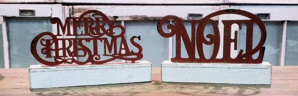 Red Christmas Sign w/ White Base