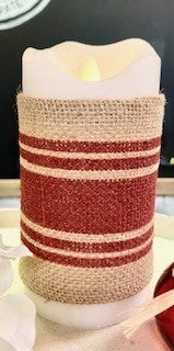 Candle Wrap- Red & Burlap