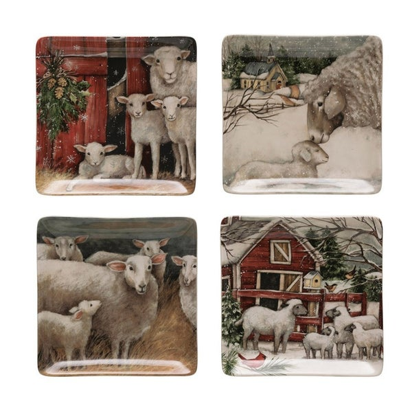 Square Christmas Sheep Plates