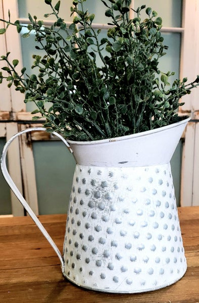 Chubby Embossed White Pitcher